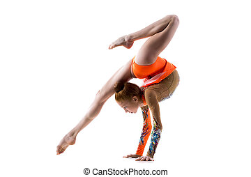 Teenage dancer girl doing handstand - Beautiful gymnast...