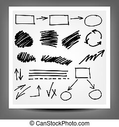 vector highlighter elements, hand drawn circles, frames and...