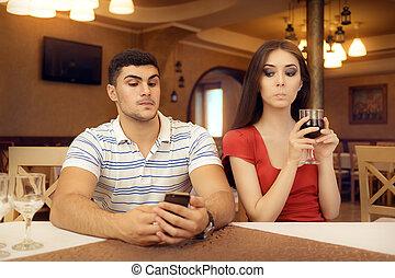 Curious Girl Spying Boyfriend