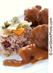 jamaican ox tails with peas rice