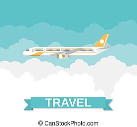 picture of a civilian plane with clouds and travel sign....