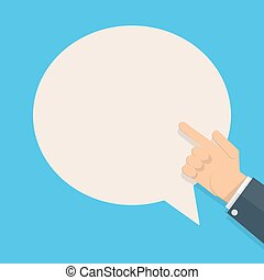 hand with pointing finger and bubble for text - cartoon...