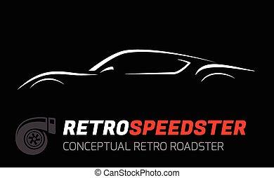 Concept Retro Sportscar Silhouette - Conceptual retro style...