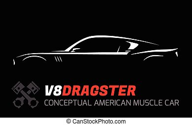 Concept v8 muscle car Silhouette - Conceptual V8 drag race...