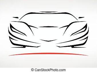 Concept Sportscar Vehicle Silhouette Vector illustration