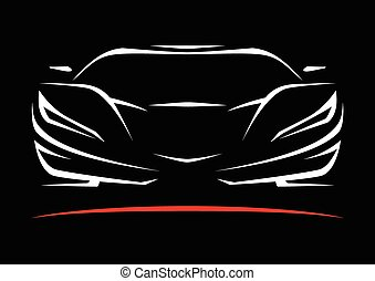 Sportscar Vehicle Silhouette - Concept Sportscar Vehicle...