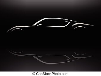 Concept retro sports car silhouette - Conceptual retro style...