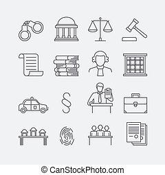 Law and justice thin line vector icons The legal system,...