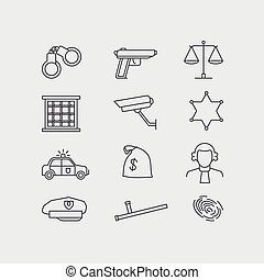 Crime and police line vector icons set The legal system...