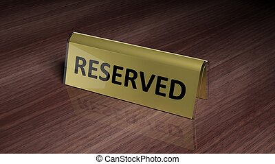 Golden glossy reservation sign on wooden surface with...