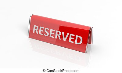 Red glossy reservation sign, isolated on white background