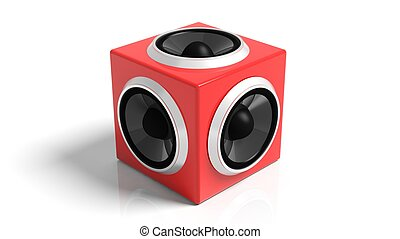 Red cube speaker, isolated on white background.