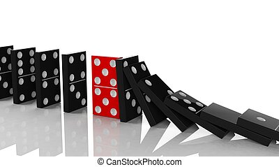 Black domino tiles in a row about to fall with red one...