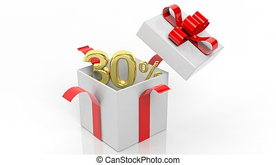 Open gift box with gold 30 percent number in it, isolated on...
