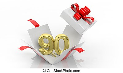Open gift box with gold 90 percent number in it, isolated on...