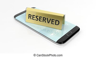 Golden glossy reservation sign on smartphone screen,...