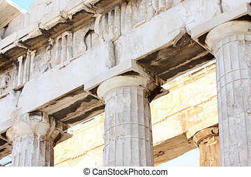 Acropolis - details of Parthenon, Acropolis in Athens Greece...