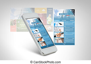 smarthphone with world news web page on screen - technology,...