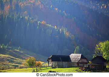 The old farmstead in mountain village Carpathians Mountains