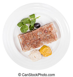 top view of piece of meat aspic on white plate - top view of...