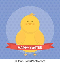 Cute Easter chick isolated vector illustration.