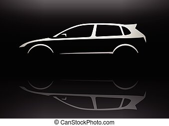 Sports car Hatchback Silhouette - Sports Vehicle Hot...