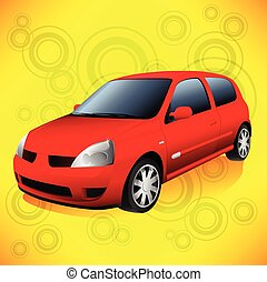 Small Red City Car on Funky Orange Retro Background - Small...