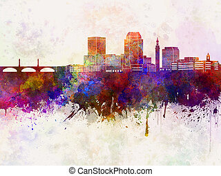 Springfield skyline in watercolor - Springfield MA skyline...