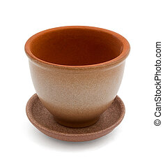 flowerpot - Empty clay flower pot with saucer isolated on...