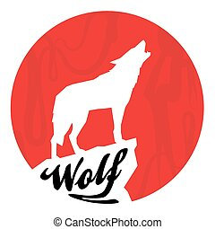 Red Full Moon with Howling Wolf Silhouette