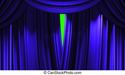 Stage Curtain - Blue Stage Curtain On Green Chroma key Loop...