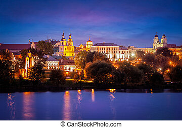 Evening view of Minsk cityscape with Holy Spirit Cathedral...