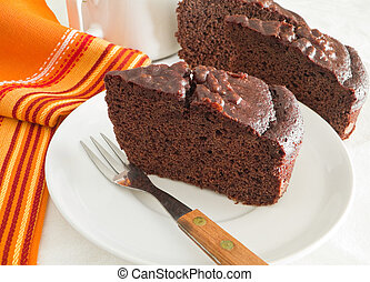 Chocolate Cake Slices at Breakfast