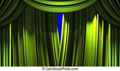 Stage Curtain - Green Stage Curtain On Blue Chroma key Loop...