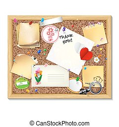 Note papers with pins and paper clips on cardboard background.