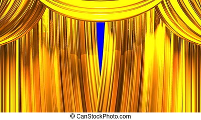 Stage Curtain - Gold Stage Curtain On Blue Chroma key Loop...