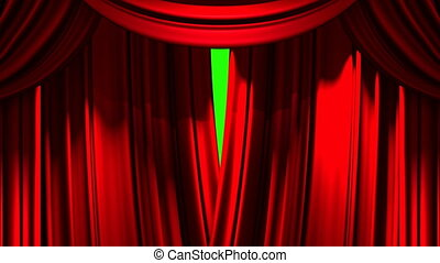 Stage Curtain - Red Stage Curtain On Green Chroma key Loop...