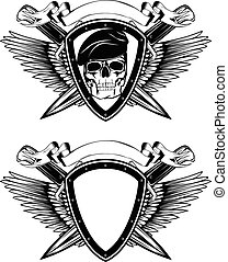 shield crossed knives and skull in beret - Abstract vector...