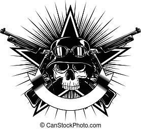skull in helmet and crossed machine gun - Abstract vector...