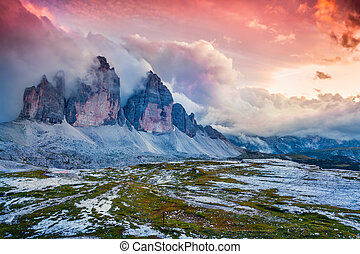 Dramatic summer scene in National Park Tre Cime di Lavaredo...