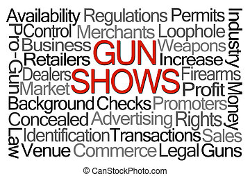 Gun Shows Word Cloud on White Background