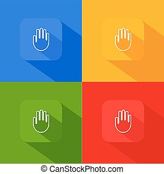 Hand palm icon with long shadow