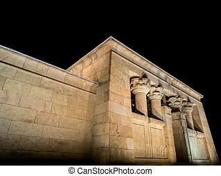 Temple of Debod against black sky, Madrid Spain - Night view...