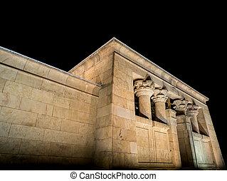 Temple of Debod against black sky, Madrid (Spain) - Night...