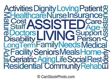 Assisted Living Word Cloud on White Background