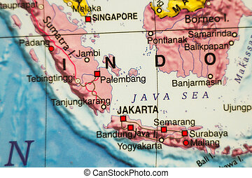 Indonesia country map . - Photo of a map of Indonesia and...