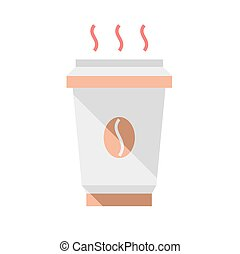 Hot coffee cup, flat style, vector illustration. Coffee to...