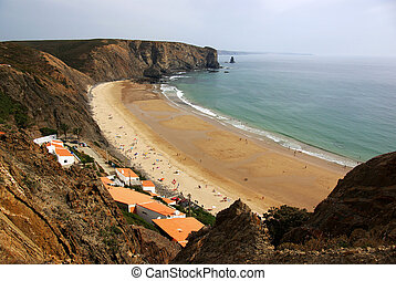 Arrifana Beach - Over view of Arrifana Beach in Algarve,...