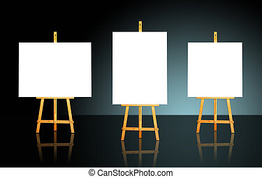 Three Easels - Three blank white canvas on easels over a...