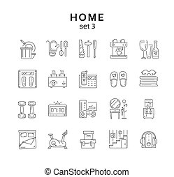 House related icons set 3, home appliance, vector illustration, line icons